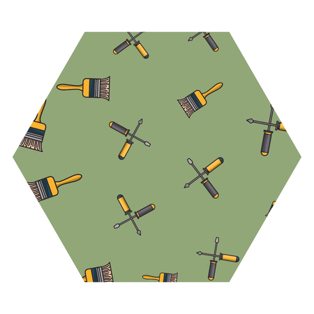 Paint brush and screwdrivers construction tools hexagon frame vector illustration graphic design
