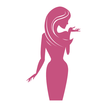 Woman pink body silhouette vector illustration graphic design Ilustracja