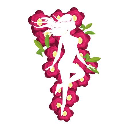 Silhouette de corps de femme avec des fleurs vector illustration graphisme