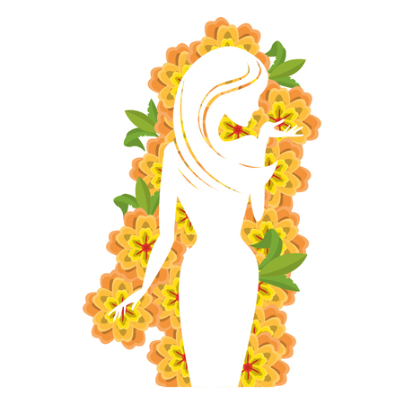 Woman body silhouette with flowers vector illustration graphic design Illustration