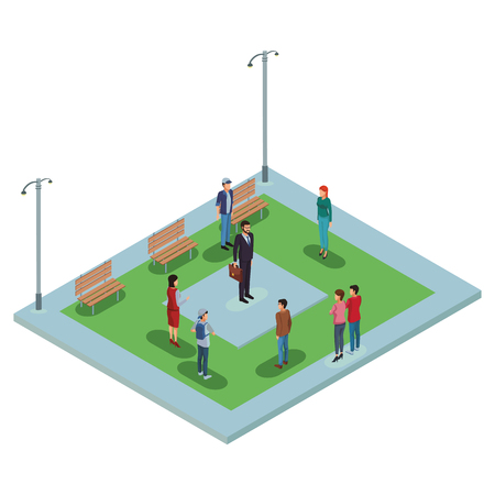 People at park isometric scenery vector illustration graphic design Illustration