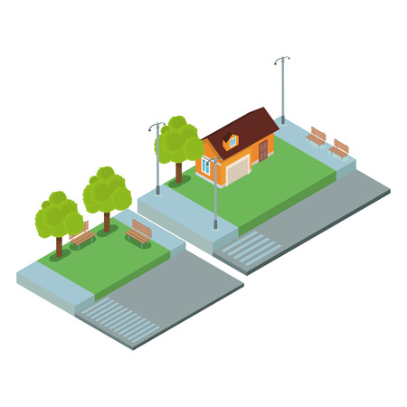 Home and park isometric scenery vector illustration graphic design