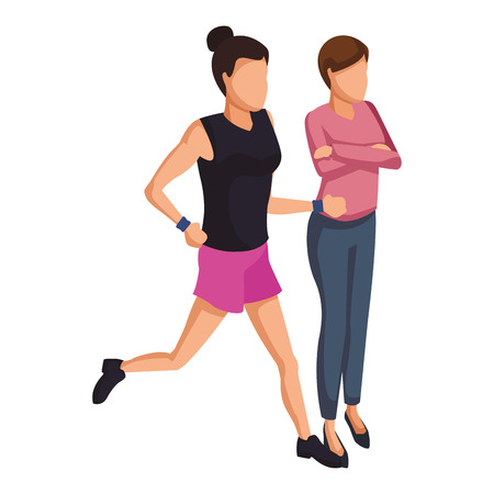 Fitness woman running and woman arms crossed vector illustration graphic design