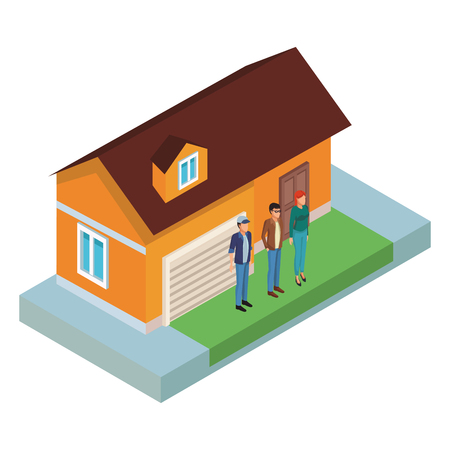 People at home isometric scenery vector illustration graphic design