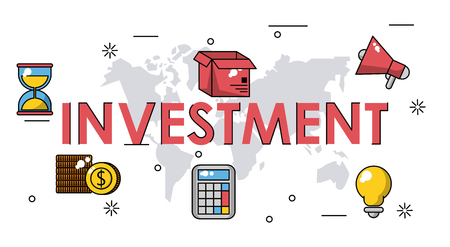 Business investment banner with technology icons vector illustration graphic design