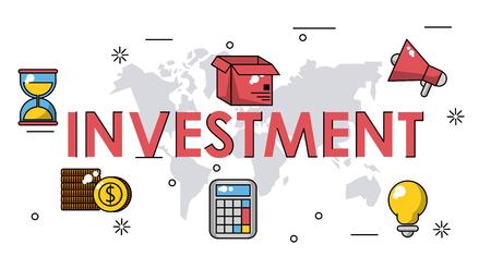 Geschäftsinvestitionsfahne mit Technologieikonen-Vektorillustrationsgrafikdesign