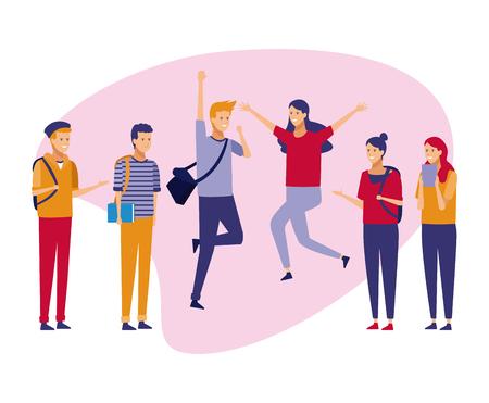 Jóvenes estudiantes adolescentes celebrando con ropa casual dibujos animados vector ilustración diseño gráfico