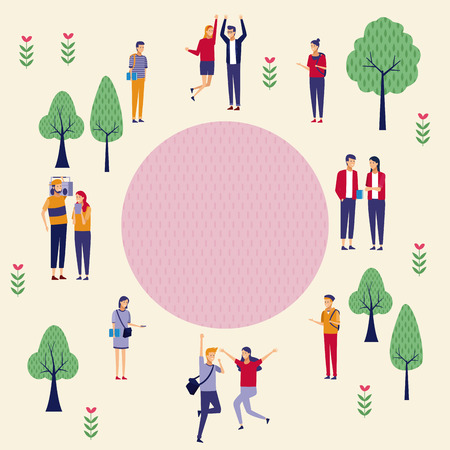 People at park topview cartoons vector illustration graphic design Illustration