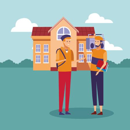Students talking outside high school building cartoon vector illustration graphic design Illustration