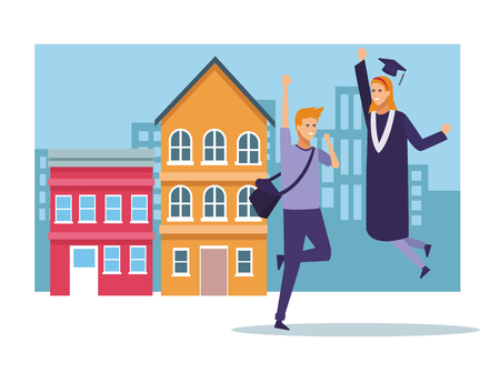 Student celebrating graduation with people cartoons vector illustration graphic design Illustration