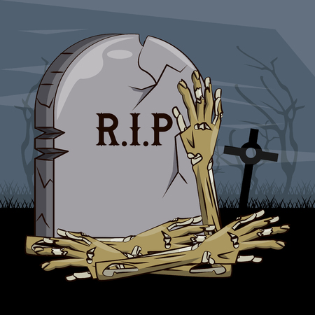 Halloween scary scenery cartoons at night vector illustration graphic design Vettoriali