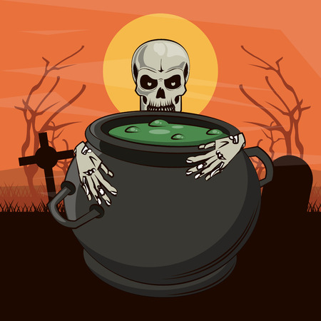 Halloween scary scenery cartoons at twilight vector illustration graphic design
