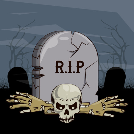 Cartoni animati di paesaggio spaventoso di Halloween alla progettazione grafica dell'illustrazione di vettore di notte Vettoriali