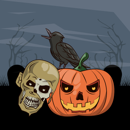 Halloween scary scenery cartoons at night vector illustration graphic design
