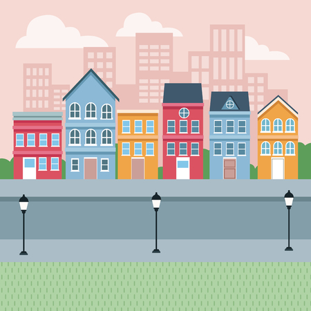 Stadtstraße mit Gebäuden Landschaft Cartoons Vektor-Illustration Grafikdesign Vektorgrafik