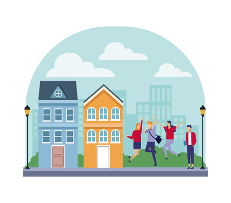 Teenager students having fun at city scenery vector illustration graphic design Illustration