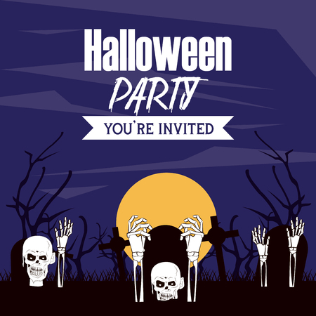 Halloween party invitation card with scary cartoons vector illustration graphic design  イラスト・ベクター素材