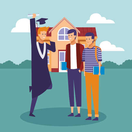 Student celebrating graduation with people cartoons vector illustration graphic design