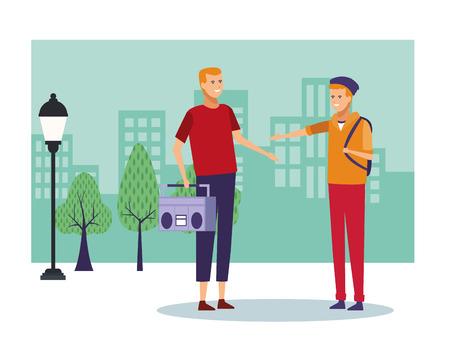 Persone che parlano e si divertono al disegno grafico dell'illustrazione di vettore dei cartoni animati di paesaggio della città