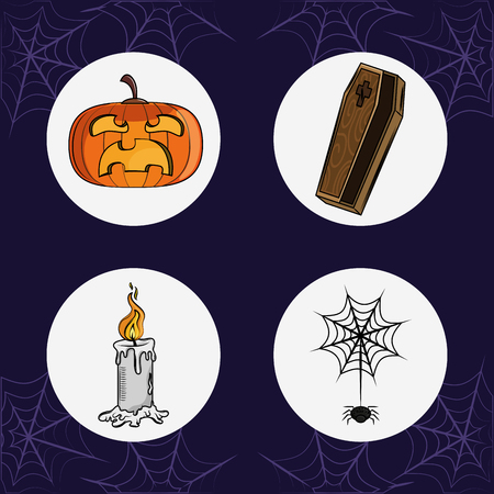 Set of halloween cartoons round icons vector illustration graphic design Stock Illustratie