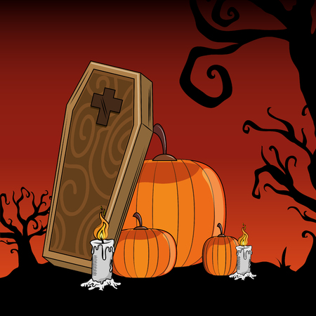 Halloween scary pumpkins scenery cartoons vector illustration graphic design