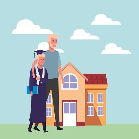 Student with gown celebrating university graduation cartoon vector illustration graphic design