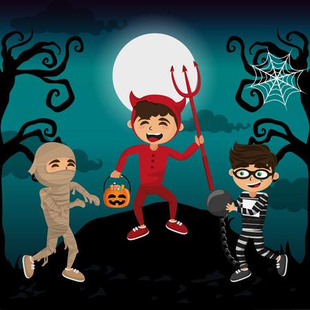Kinder mit Halloween-Kostümen bei unheimlichem Landschaftsvektorillustrationsgrafikdesign