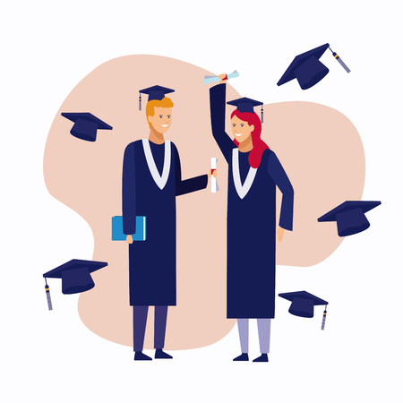 Students couple with gown celebrating graduation vector illustration graphic design 矢量图像
