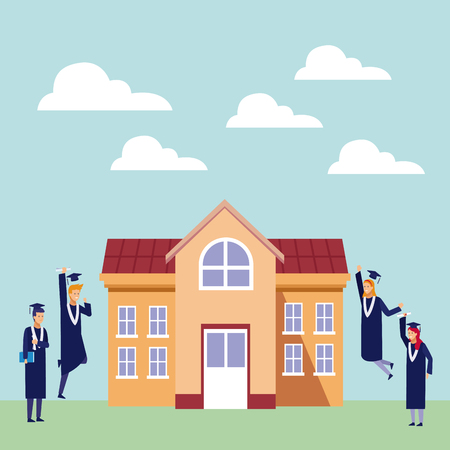 Students with gown celebrating graduation outside university building vector illustration graphic design 矢量图像