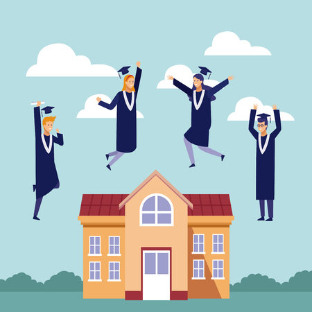 Students with gown celebrating graduation outside university building vector illustration graphic design 向量圖像
