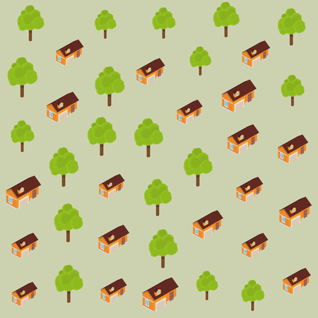 Trees and houses pattern background elements vector illustration graphic design