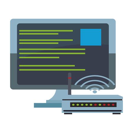 Computer and internet cloud computing vector illustration graphic design  イラスト・ベクター素材