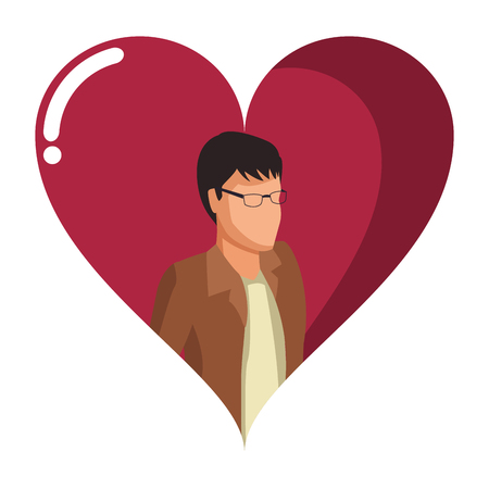 Young man avatar isometric inside heart shaped frame vector illustration graphic design
