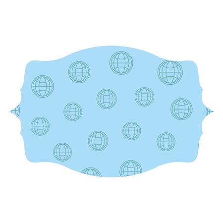 Global sphere label frame isolated vector illustration graphic design