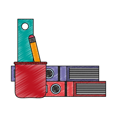 Books and cup with ruler and pencil vector illustration graphic design Stock Illustratie