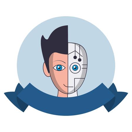 Robot human face symbol round emblem with blank ribbon banner vector illustration graphic design Illustration
