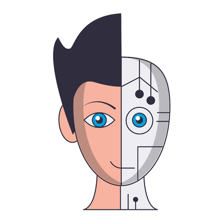 Robot human face symbol vector illustration graphic design Vettoriali