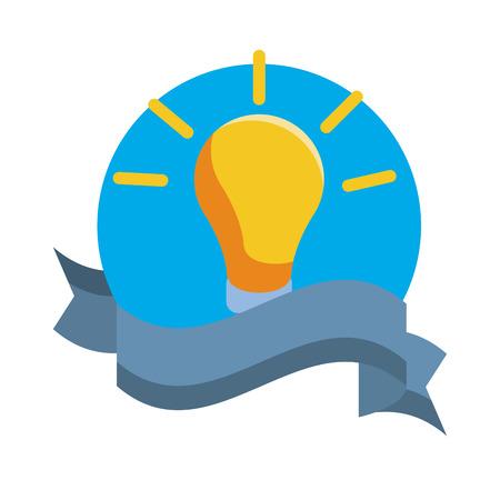 Bulb light symbol emblem with ribbon banner vector illustration graphic design
