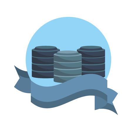 Database storage disks emblem with ribbon banner vector illustration graphic design