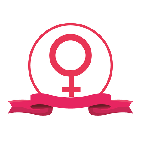Female gender symbol with blank ribbon banner vector illustration graphic design
