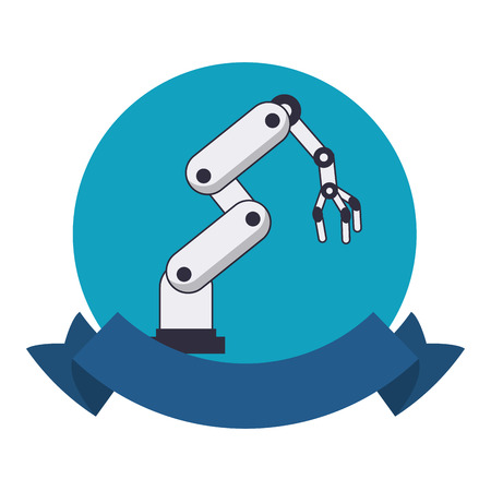 Robot arm technology round emblem with blank ribbon banner vector illustration graphic design