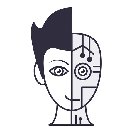 Robot human face symbol in black and white vector illustration graphic design