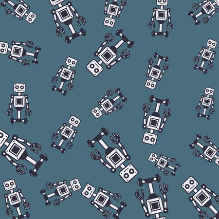 Robots pattern background cartoons vector illustration graphic design