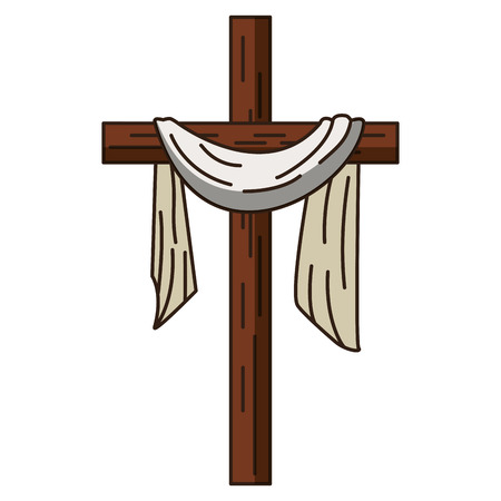 Christian cross with cloth symbol vector illustration graphic design