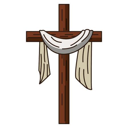 Croce cristiana con disegno grafico di illustrazione vettoriale simbolo di stoffa