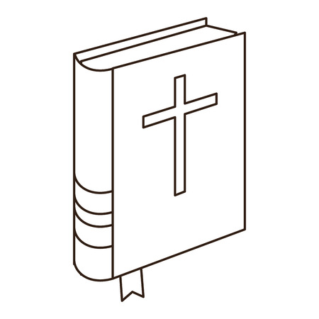 Holy bible book in black and white vector illustration graphic design