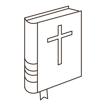 Livre de la Sainte Bible en conception graphique d'illustration vectorielle noir et blanc