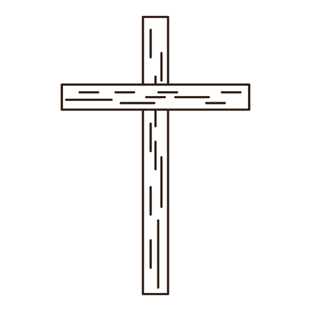 Christian wooden cross symbol in black and white vector illustration graphic design