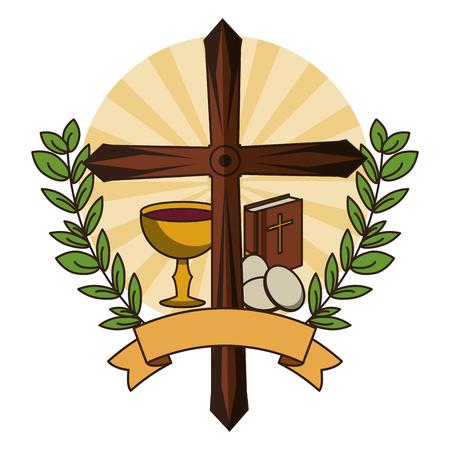 Símbolo de la cruz cristiana con símbolos católicos ilustración vectorial diseño gráfico