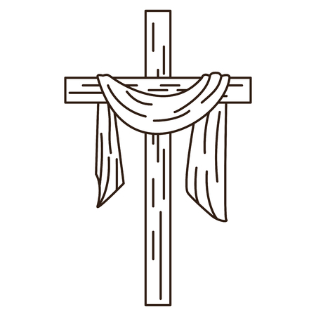 Christian cross with cloth symbol in black and white vector illustration graphic design